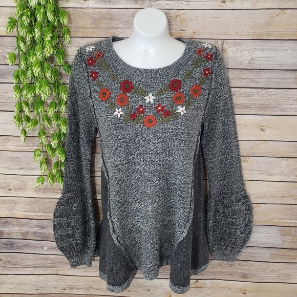 Knox Rose Floral Embroidered Bell Sleeve Sweater